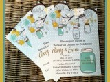 pastel rehearsal dinner invitations in light blue and polka dot, with jars, blooms and birdies for a sweet spring rehearsal