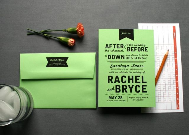 a bright green and black rehearsal invitation with a matching envelope is a fun and bold idea for a spring or summer rehearsal dinner