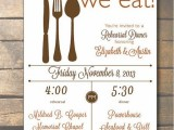 a white and gold rehearsal dinner invitation is a stylish and simple idea for a modern rehearsal