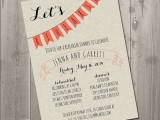 a fun and cute wedding rehearsal dinner invitation in neutrals, with black letters and an orange banner is a cool option for a summer rehearsal