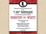 a rustic or cowboy rehearsal dinner invitation in white, black and red, with prints for a BBQ rehearsal dinner