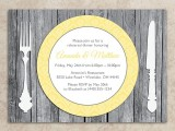 a stylish rustic rehearsal dinner invitation styled as a weathered wood placemat with elegant cutlery and a bright plate