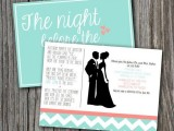 a colorful rehearsal dinner invitation in aqua, white and red, with fun printing and cool images is a bold and fun idea