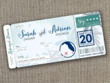 a rehearsal dinner invitation styled as an airplane ticket for a destination rehearsal dinner