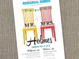a bright and fun rehearsal dinner invitation in red, yellow, blue and with colorful chairs and banners and chic printing