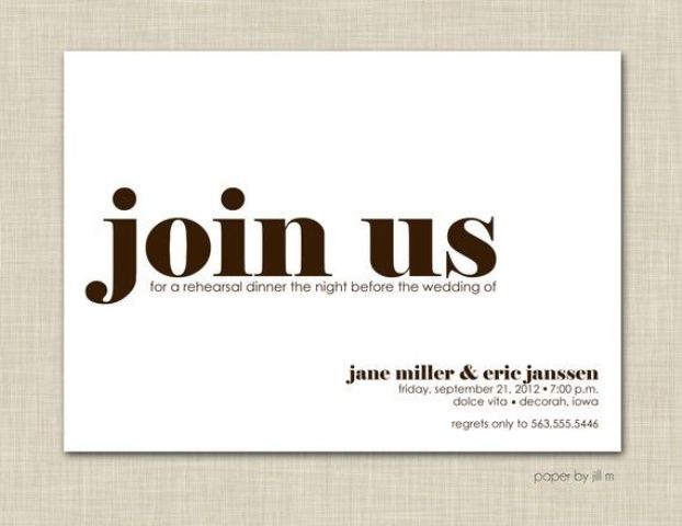 a modern white and brown rehearsal dinner invitation with styling lettering is a cool idea to try