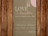 an olive green rehearsal dinner invitation with light pink decor and letters is pretty and cool