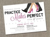 a glam rehearsal dinner invitation in white, black and hot pink, with quirky letters and hearts is glam and cute
