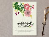 a bright floral rehearsal dinner invitation with quirky letters is a cool option for summer
