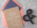 a fun rehearsal dinner invitation of cardboard, a coral envelope with blue lining is a simple and cute idea