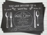a cool chalkboard style rehearsal invitation with white letters and images is a simple and relaxed idea
