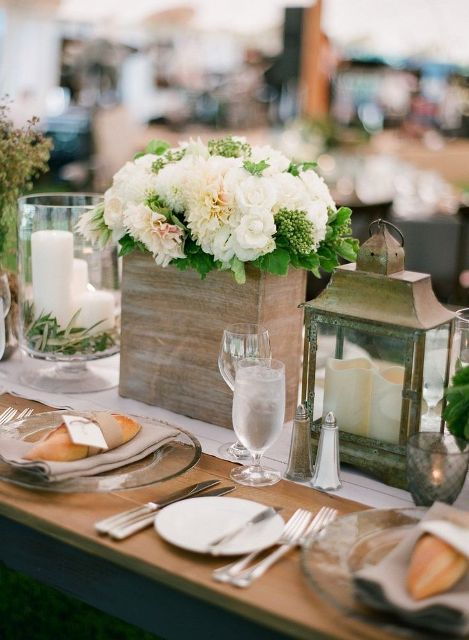 Picture of rustic styled d cor rehearsal dinner ideas 19 for Wedding dinner table decoration