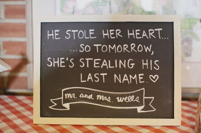 a framed chalkboard sign is a cool idea for decorating a rustic space