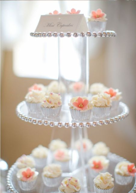 a glam wedding dessert stand of sheer tiers with metallic beads is a cool idea for a romantic modern or vintage wedding