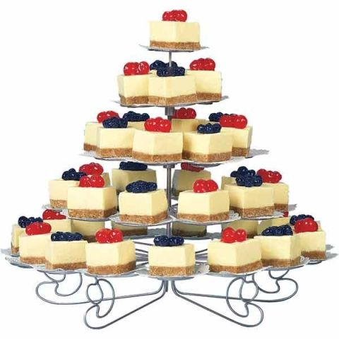 a refined metal stand with individual parts for each dessert is a stylish idea for a formal or vintage wedding