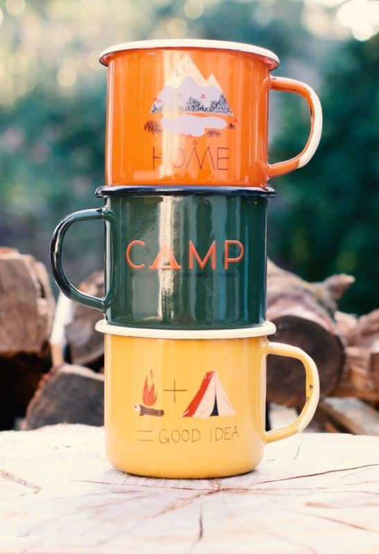 metal mugs with camps and mountains will be nice wedding gifts or can be even used for tablescapes