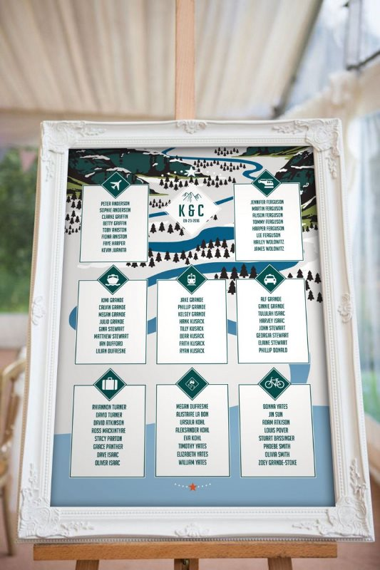 a mountain wedding seating chart done with a scheme of the wedding location and in the wedding colors