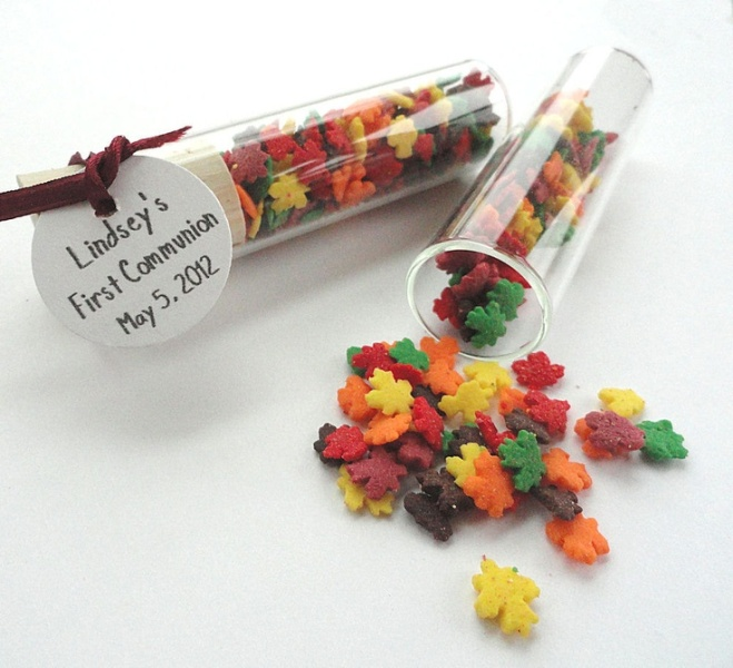 colorful sugar shaped as fall leaves is a cool and fun idea for a fall wedding, it's a budget savvy solution that will make everyone happy