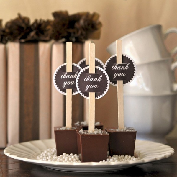 chocolate fudge on sticks, with tags is a perfect wedding favor for both fall and winter weddings and will be ideal for Christmas, too