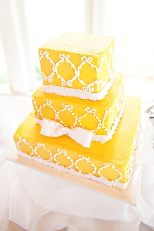 Picture Of Lovely And Joyful Yellow Wedding Cakes