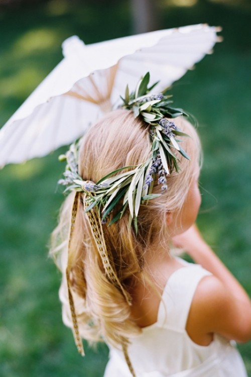 a beautiful olive branch and lilac crown for a little flower girl or for all the bridesmaids is a cool organic idea