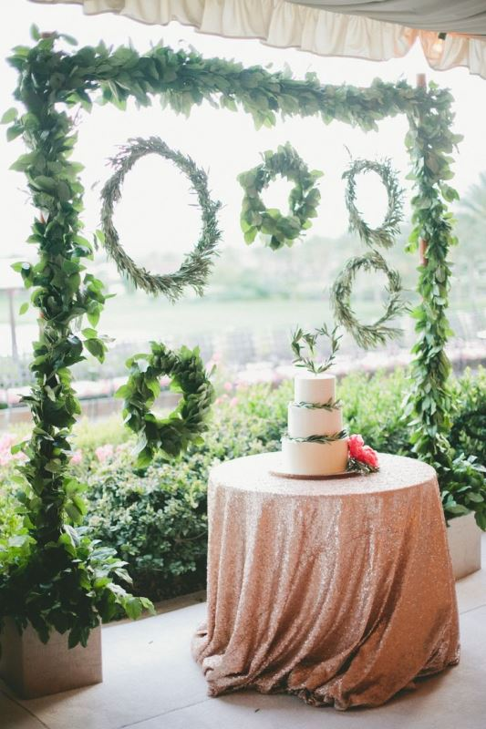 picture of organic inspired olive branch wedding decor