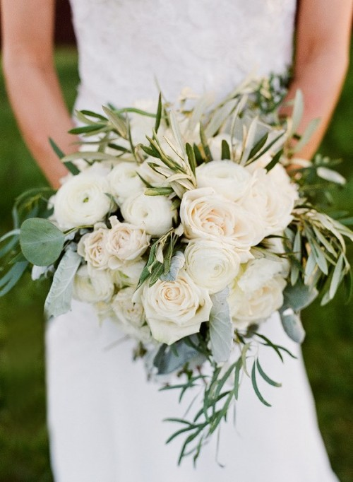 a neutral wedding bouquet with lush blooms, greenery and eucalyptus for a fresh and simple look