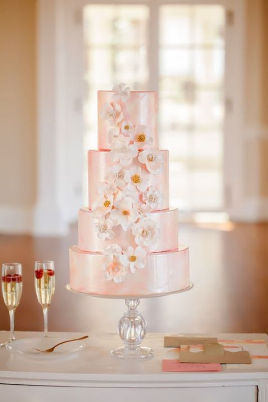 light pink and white wedding cakes picture of light pink wedding cakes 16873