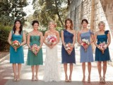 mismatched knee bridesmaid dresses in green and blue are nice for a seaside or beach wedding