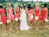 mismatched red and pink knee bridesmaid dresses with ruffles and draperies are nice for summer