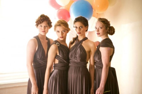 draped chocolate brown mismatched bridesmaid dresses are nice for a modern and elegant wedding