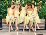 chic mismatched lemon yellow bridesmaid dresses – the dresses are kept in the same color but with a different design
