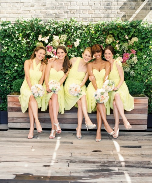 chic mismatched lemon yellow bridesmaid dresses - the dresses are kept in the same color but with a different design