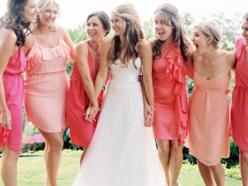 light pink and bright pink short bridesmaid dresses with ruffles are nice for a colorful summer wedding