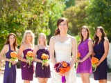 navy and deep purple short mismatched bridesmaid dresses are great for fall or winter weddings