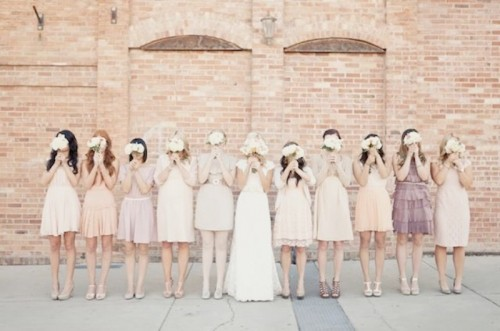 blush, neutral, lavender short mismatched bridesmaid dresses for a neutral-colored spring or summer wedding