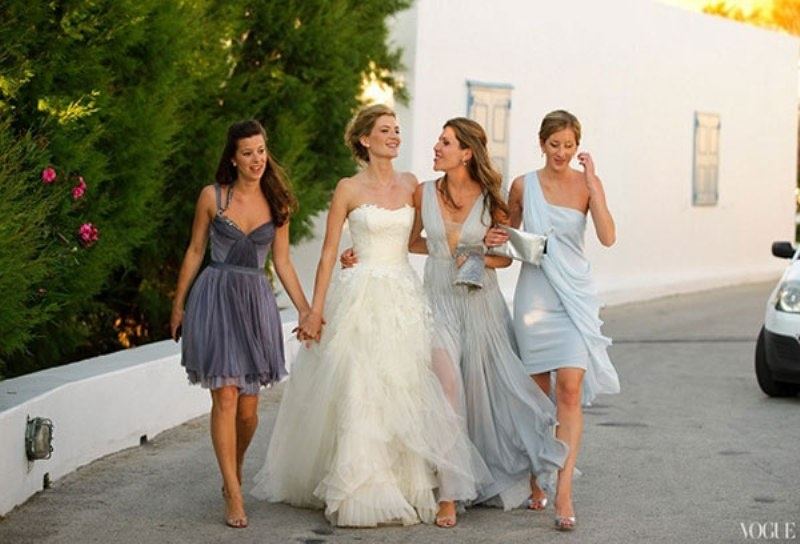mismatched light blue and grey bridesmaid dresses for an ultimately elegant wedding