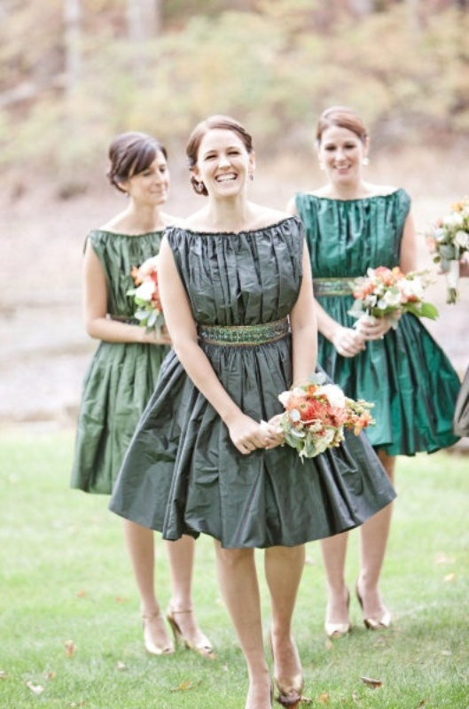 draped short grey and green bridesmaid dresses with full skirts are chic and bold
