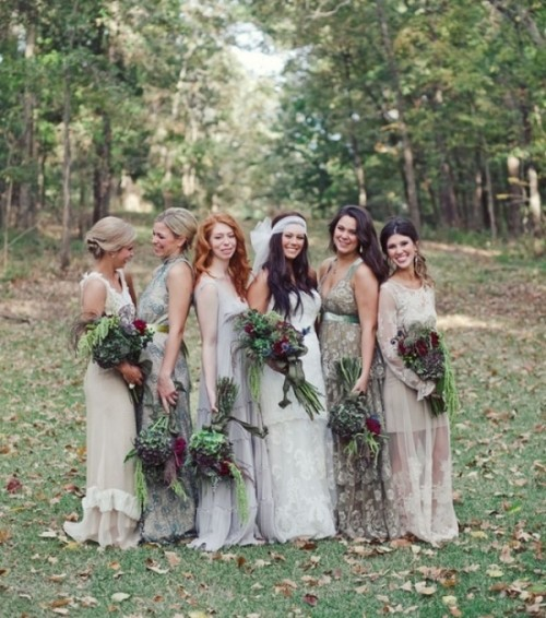 mismatched neutral and floral maxi bridesmaid dresses for a summer or fall wedding
