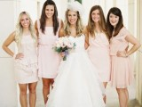 mismatched light pink bridesmaid dresses of knee length are great and stylish for spring and summer weddings