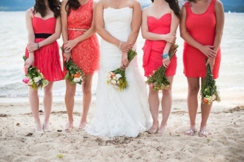 mismatched knee bright pink bridesmaid dresses for a bright beach wedding