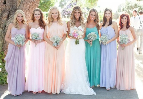 strapless, spaghetti strap and high neckline mismatching pastel bridesmaid maxi dresses are very romantic and cool