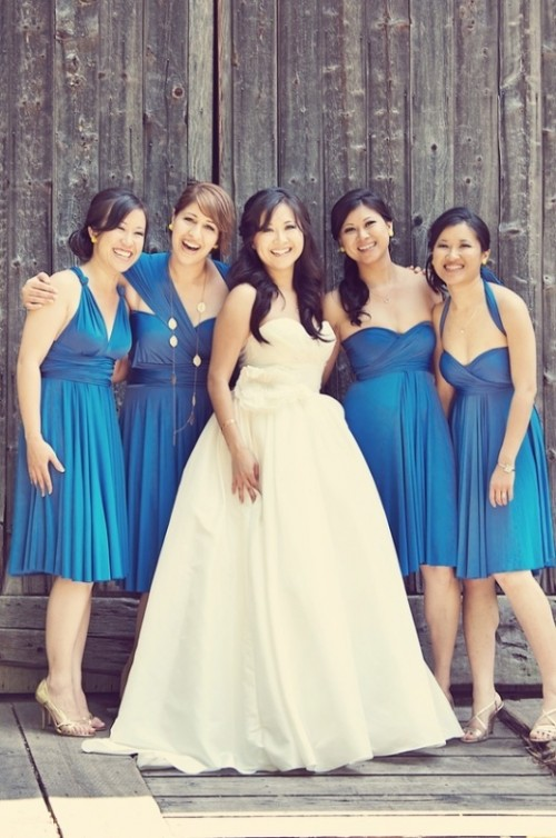 mismatched knee bright blue bridesmaid dresses are chic and bold and will be a bold solution for many weddings