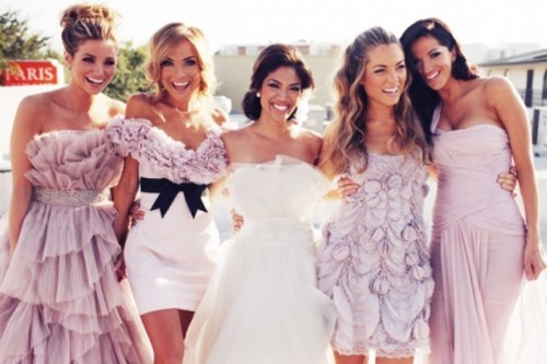 mismatched light pink bridesmaid dresses are a very girlish and chic idea for any chic wedding