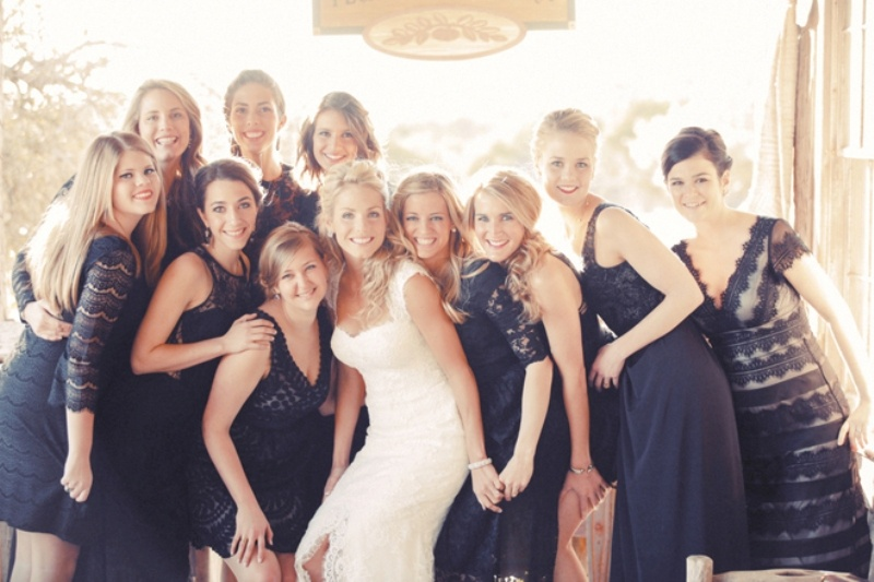 mismatching navy bridesmaid dresses are gorgeous for a nautical or seaside wedding