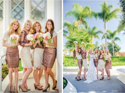mismatching bridesmaid outfits in white lace and shiny copper - some in copper skirts, others in copper tops for a bold look
