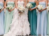 mismatching strapless maxi bridesmaid dresses in greens and blues are amazing for a seaside wedding