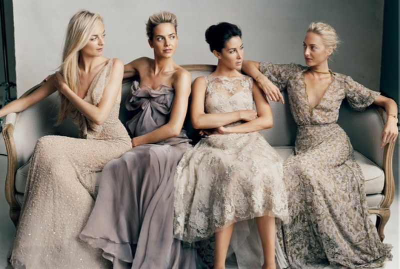 mismatching bridesmaid dresses in purple and grey, with draperies, embellishments and lace for a refined wedding