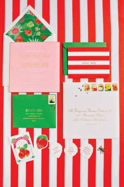 a bright green, red and white stationery suite with various patterns is a fun and bold idea to rock at a winter wedding