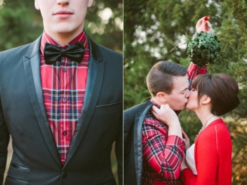 a red plaid shirt, a black bow tie, a red cardigan for the bride for a truly Christmas feel at your wedding